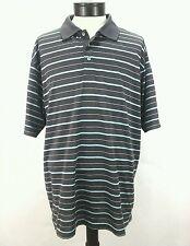 ADIDAS GOLF POLO SHIRT Short Sleeved Gray w Blue Stripes ClimaCool Mens XL $55