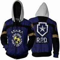 Resident Evil Leon Scott Kennedy Hoodies Sweatshirts Jacket Zipper Coat Costume