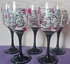 Personalised Wine glass Zebra Print Hand painted Birthday gift Any age