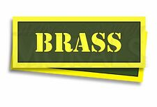"BRASS Ammo Can Labels for Ammunition Case 3"" x 1"" stickers decals 2 PACK -AG"