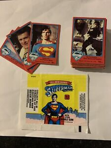 SUPERMAN THE MOVIE . FULL SET 66 series 2 cards 67-132. Topps 1978 & Wax Wrapper