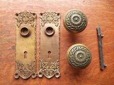 """Two Antique Victorian Brass Romanesque """"Stanwich"""" Doorknobs, Doorplates c1900"""