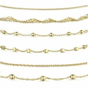 Amberta Gold Plated on 925 Sterling Silver Adjustable Ankle Bracelet Women Chain