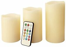 3pc REMOTE CONTROL COLOUR CHANGING LED FLAMELESS MOOD WAX CANDLES WITH TIMER