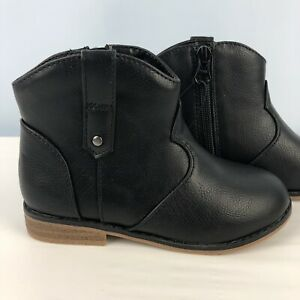 Cat & Jack Tiffy Toddler Girls Black Western Ankle Cowboy Boot Bootie sizes 6-11