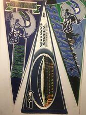 Lot of 3 VINTAGE Seattle Seahawks PENNANTS NFL  Space Needle