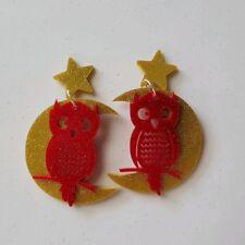 Statement dangle stud acrylic earrings gold glitter moon red glitter owl