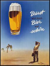 Nostalgic Art Magnet für Kühlschrank 6 x 8 Durst wird durch Bier erst schön Fun