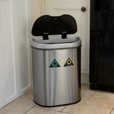 70L RECYCLING SENSOR BIN DUAL COMPARTMENT AUTOMATIC RUBBISH WASTE KITCHEN Wido