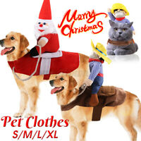 Christmas Pet Dog Cat Clothes Costume Halloween Xmas Cowboy Dress Cute Coat E