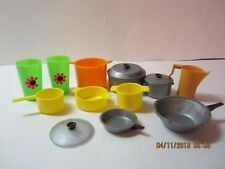 Vintage Barbie Dolllhouse Kitchen Dishes-Pots & Pans-Made In Hong Kong