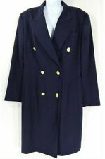 Liz Claiborne Women's Vintage 80's Wool Coat Womens Size 14 Navy Double Breasted