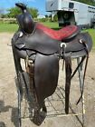 """Used/vintage 14"""".5"""" Heiser Western saddle w/red padded seat good condition"""