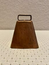 """Vintage Copper over Metal Cow/Sheep Bell, 3-1/2"""" High, Triangle Mark on Clapper"""