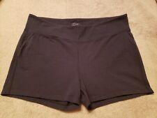 Athleta Black Shorts, Size 2X, Elastic Waist, Stretch, Mid-Rise