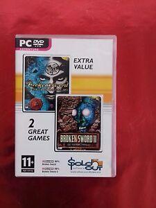 GAMES --- BROKEN SWORD DVD 2 GAMES 1 & 11  PC/DVD ADVENTURE -- EXTRA VALUE