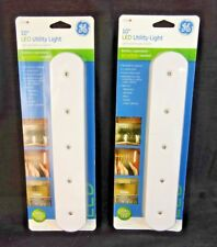 GE LED 10-Inch Battery Operated Plastic Utility Light, White 17435 2 Pack