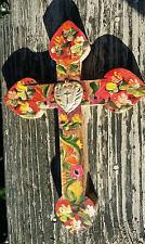 Painted Wood Cross 3D Mexico Handmade Milagro 9x6 Perpetuo Socorro Heart XN