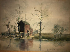 "Original 1896 M.V. Perry ""Bronx River Below Old ..?? Watercolor Painting"