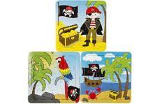 12 x Puzzle Piraten - 3 Motive 16 Teile aus Pappe ca. 13,5 x 13,5 cm - Mitgebsel