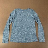 Under Armour Womens XS Blue Gray UA Tech Twist Crew Long Sleeve Athletic Shirt
