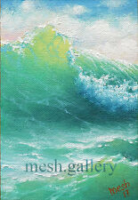 MESH 4x6 ORIGINAL OIL PAINTING Modern SEASCAPE Wave STORM  Sea Surf Mesheryakov