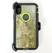 For Apple iPhone X Rugged Defender Case Cover w/(Clip fits Otterbox) GREEN TREE