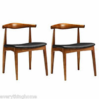 2 Elbow Style Dining Chairs Danish Mid-Century Walnut Finish Solid Wood Frame