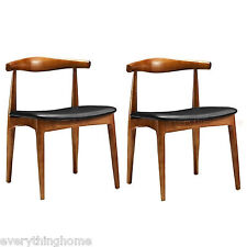 2 WEGNER ELBOW STYLE DINING CHAIRS DANISH MID-CENT LIGHT WALNUT SOLID WOOD FRAME