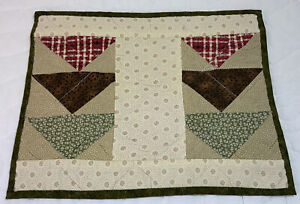 Patchwork Quilt Table Topper, Triangles, Calico Prints, Green, Beige, Brick Red