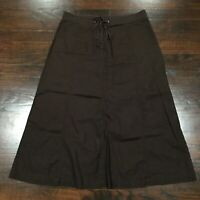 J. Crew A-Line Linen Blend Skirt Women's Size 4 Drawstring Waist Zip Front Brown