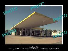 OLD LARGE HISTORIC PHOTO OF MIDLAND WA, THE BP OIL SERVICE STATION c1970