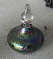 "Fancy Vines 2005 Signed Art Glass Perfume Bottle 3"" Tall"