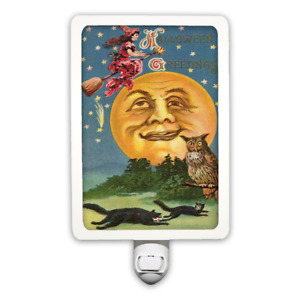 Funny Moon Halloween Greeting Witch Broom Black Cats Vintage Style Night Light