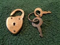 Small Heart Shaped Padlock USA Vintage Brass Tone Lock with Keys Miniature