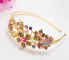 New Pink Rhinestone Crystal Rhodium Prom Bridal Wedding Tiara Flower Headband