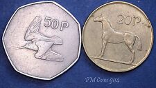 Irish Decimal 1970 50p, 1986 20p coin set EIRE Ireland *[9114]