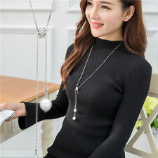 Fashion Charm Jewelry Pendant Chain Long Crystal Pearls Statement Necklace