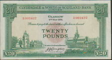 Scotland,Clydesdale & North Bank,20 Pounds Banknote,2.5.1951 Ch,Very Fine,#193-A