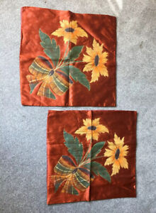 Antique Pair Cushion Covers Embroidered Applique Rayon 1920s 1930s Vintage