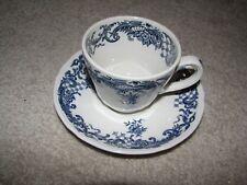 BLUE transferware Villeroy & Boch MOCHA CUP & SAUCER porcelain VALERIA Germany