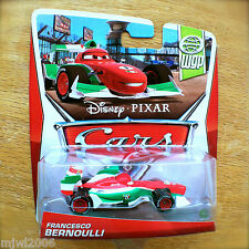 Disney PIXAR Cars FRANCESCO BERNOULLI on 2013 WGP THEME CARD diecast 2/17 Italy