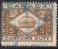 """Canada 5c  brown """"Customs Duty"""" stamp."""