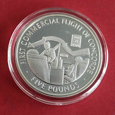 CONCORDE 2006 GIBRALTAR SILVER PROOF £5 CROWN - first commercial flight