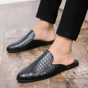 Mens Faux Leather Slippers Mules Sandals Pumps Slip On Breathable Shoes Loafers