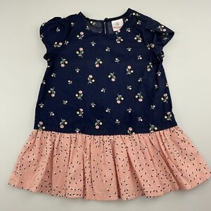 Girls size 0-1, Hanna Andersson, floral cotton casual dress, EUC