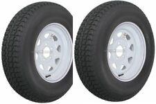 "Two Trailer Tires Rims ST205/75D14 2057514 F78-14 14"" LRC 5 Lug Hole White Spoke"