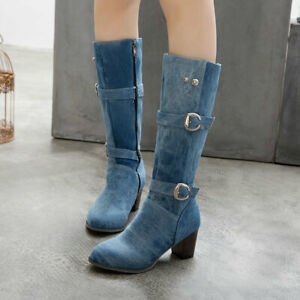 Womens Denim Buckle Strap Knee High Knight Boots Med Block Heel Western Shoes SZ