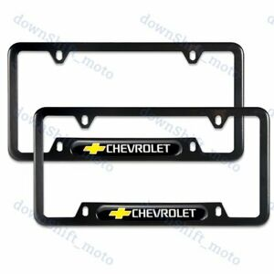 2PCS For CHEVY CHEVROLET Black Metal Stainless Steel License Plate Frame NEW