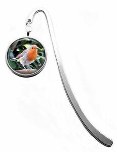Silver Plated Robin Bird Photo Cabochon Bookmark
